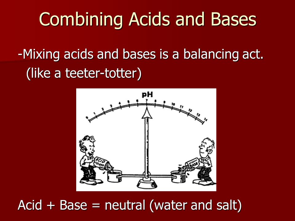 Combining Acids and Bases -Mixing acids and bases is a balancing act.