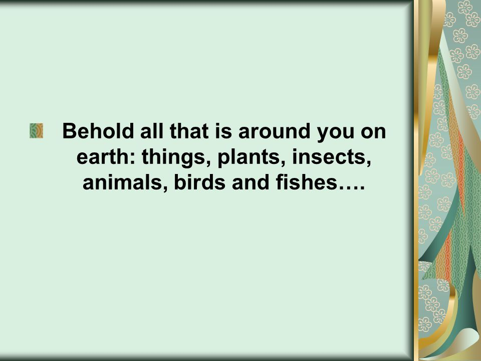 Behold all that is around you on earth: things, plants, insects, animals, birds and fishes….
