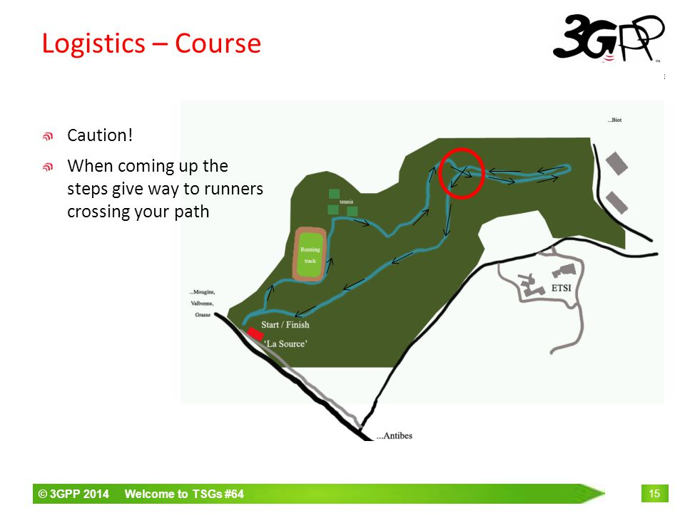 © 3GPP 2014 Welcome to TSGs #64 15 Logistics – Course Caution.