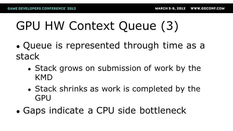 GPU HW Context Queue (3) ● Queue is represented through time as a stack ● Stack grows on submission of work by the KMD ● Stack shrinks as work is comp