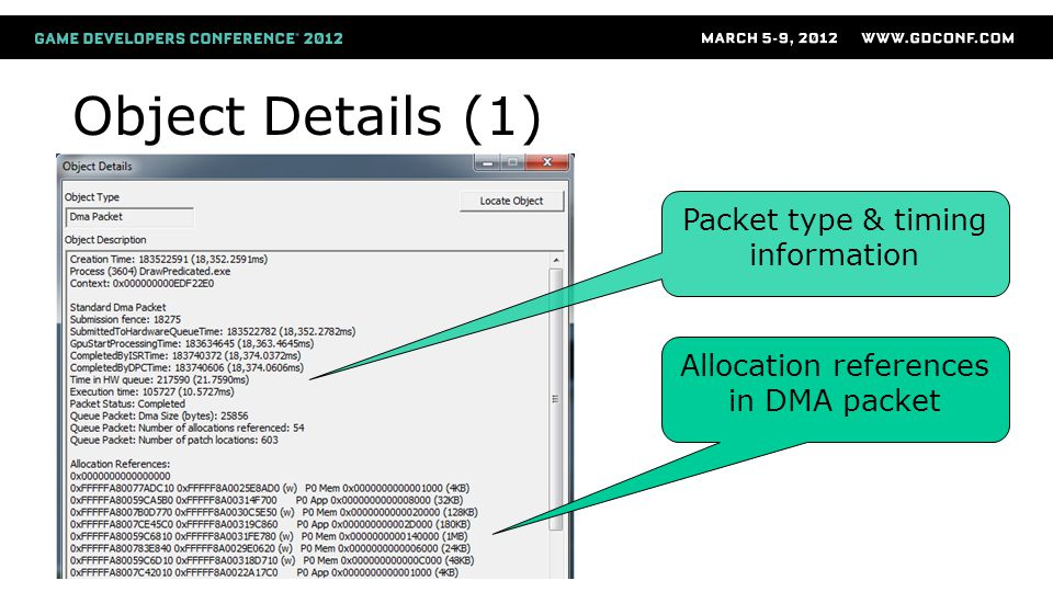 Object Details (1) Packet type & timing information Allocation references in DMA packet