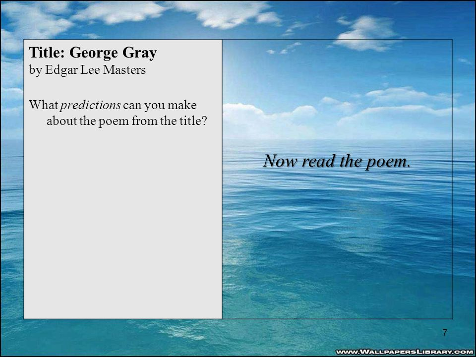 Title: George Gray by Edgar Lee Masters What predictions can you make about the poem from the title.