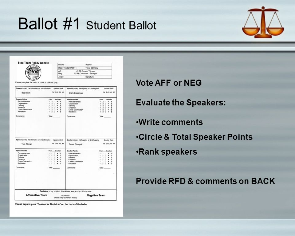 Ballot #1 Student Ballot Vote AFF or NEG Evaluate the Speakers: Write comments Circle & Total Speaker Points Rank speakers Provide RFD & comments on BACK