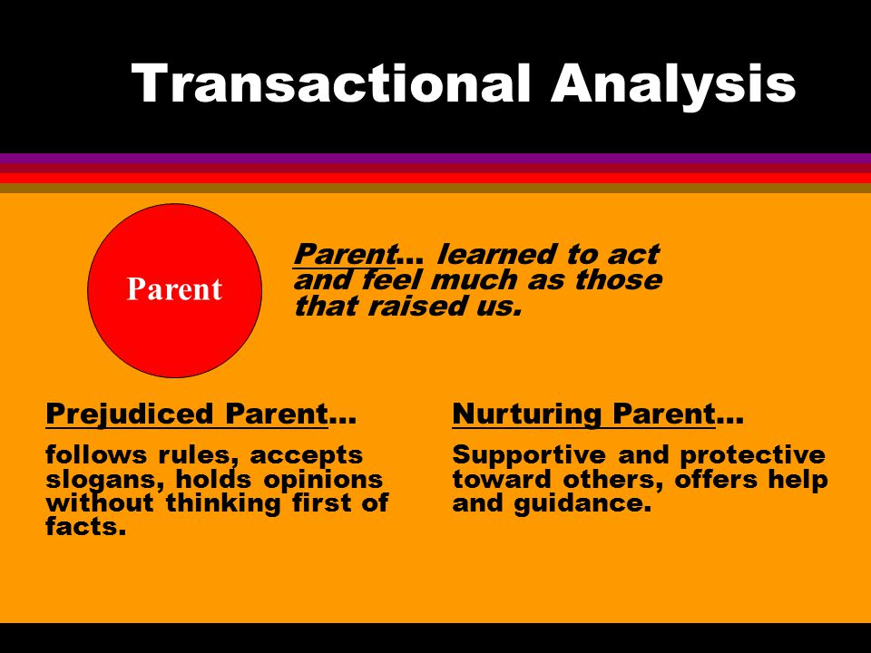 Transactional Analysis Parent… learned to act and feel much as those that raised us. Parent Prejudiced Parent… follows rules, accepts slogans, holds o