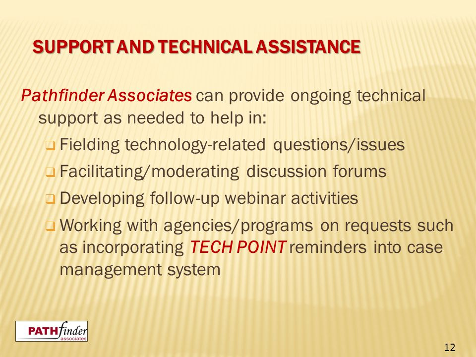 SUPPORT AND TECHNICAL ASSISTANCE Pathfinder Associates can provide ongoing technical support as needed to help in:  Fielding technology-related questions/issues  Facilitating/moderating discussion forums  Developing follow-up webinar activities  Working with agencies/programs on requests such as incorporating TECH POINT reminders into case management system 12