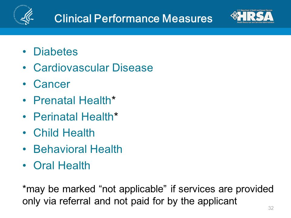 Clinical Performance Measures Diabetes Cardiovascular Disease Cancer Prenatal Health* Perinatal Health* Child Health Behavioral Health Oral Health *may be marked not applicable if services are provided only via referral and not paid for by the applicant 32