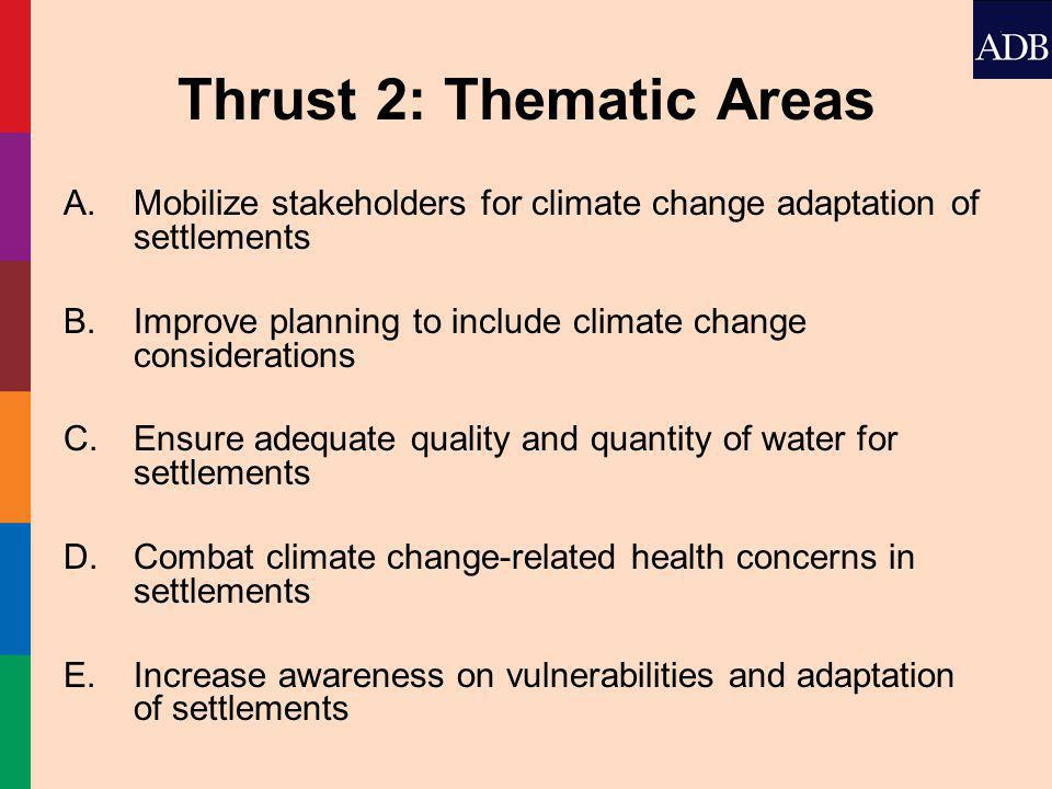 Thrust 2: Thematic Areas A.Mobilize stakeholders for climate change adaptation of settlements B.Improve planning to include climate change considerations C.Ensure adequate quality and quantity of water for settlements D.Combat climate change-related health concerns in settlements E.Increase awareness on vulnerabilities and adaptation of settlements