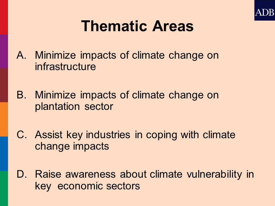 Thematic Areas A.Minimize impacts of climate change on infrastructure B.Minimize impacts of climate change on plantation sector C.Assist key industries in coping with climate change impacts D.Raise awareness about climate vulnerability in key economic sectors