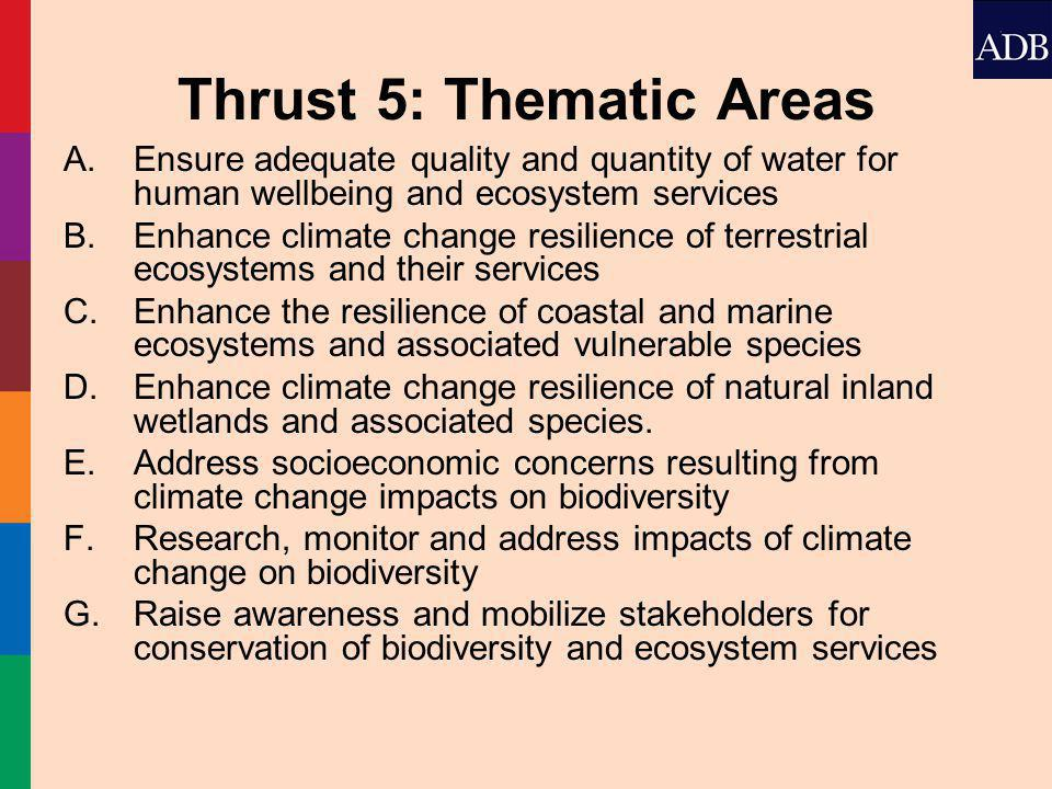 Thrust 5: Thematic Areas A.Ensure adequate quality and quantity of water for human wellbeing and ecosystem services B.Enhance climate change resilience of terrestrial ecosystems and their services C.Enhance the resilience of coastal and marine ecosystems and associated vulnerable species D.Enhance climate change resilience of natural inland wetlands and associated species.