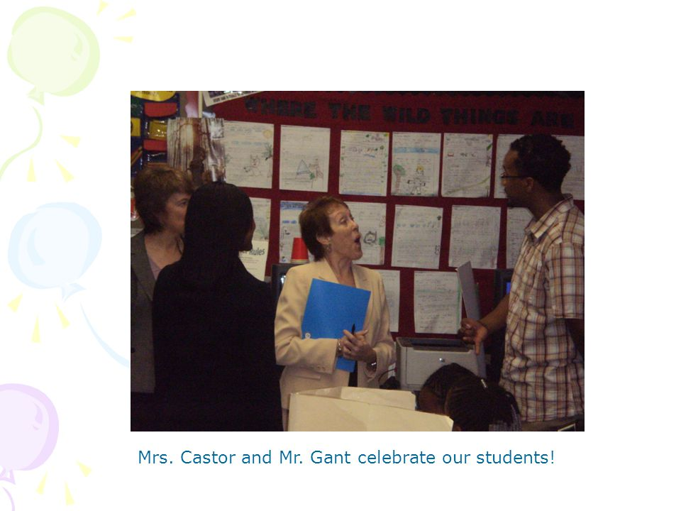 Mrs. Castor and Mr. Gant celebrate our students!
