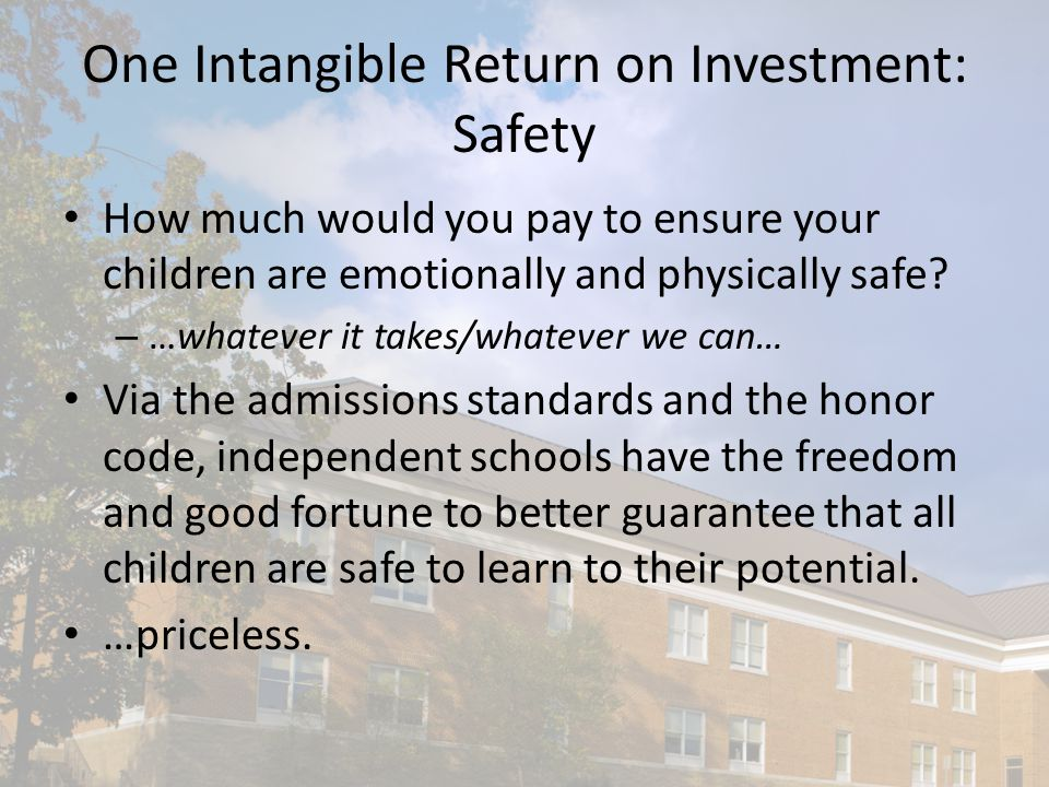 One Intangible Return on Investment: Safety How much would you pay to ensure your children are emotionally and physically safe.