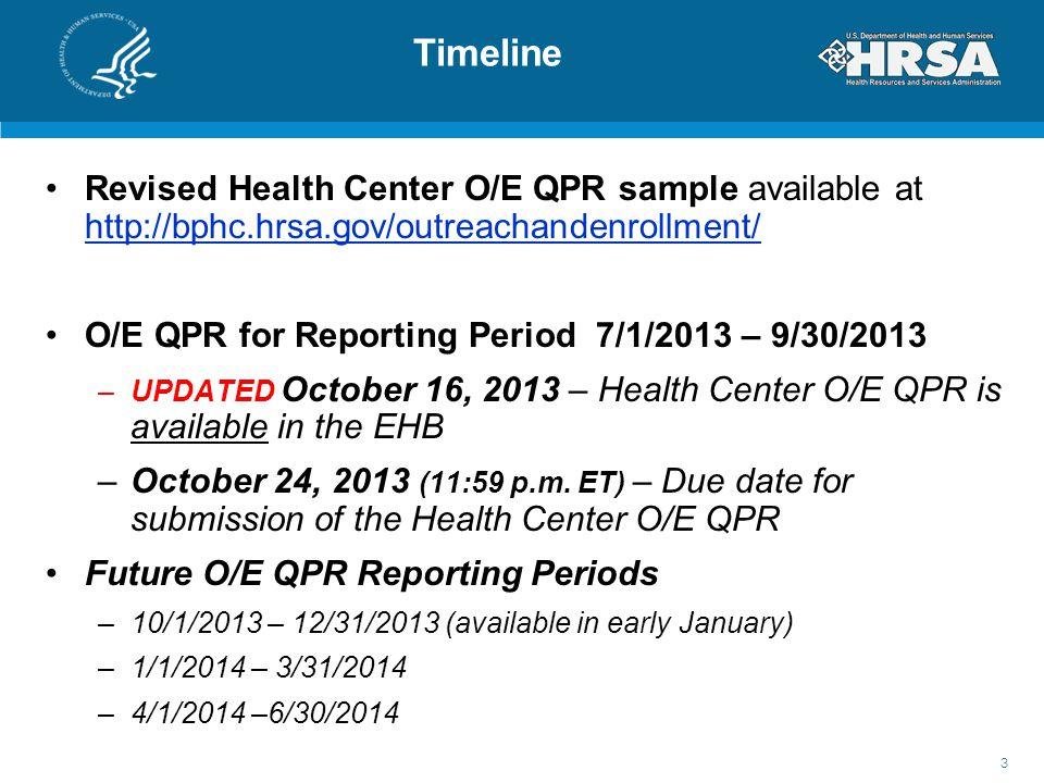 Timeline Revised Health Center O/E QPR sample available at http://bphc.hrsa.gov/outreachandenrollment/ http://bphc.hrsa.gov/outreachandenrollment/ O/E