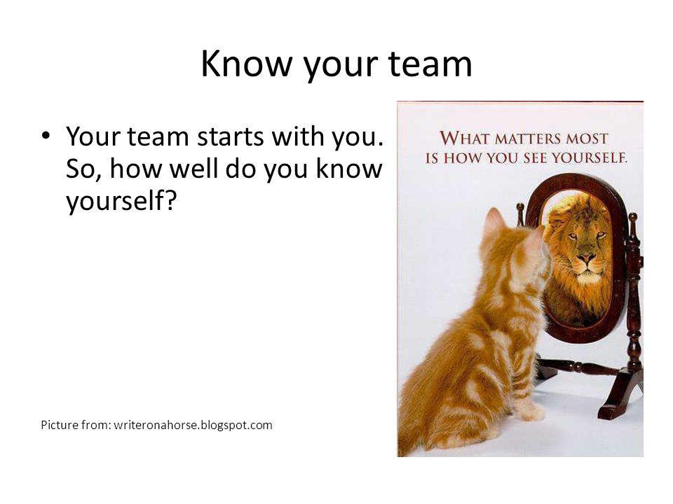 Know your team Your team starts with you. So, how well do you know yourself? Picture from: writeronahorse.blogspot.com