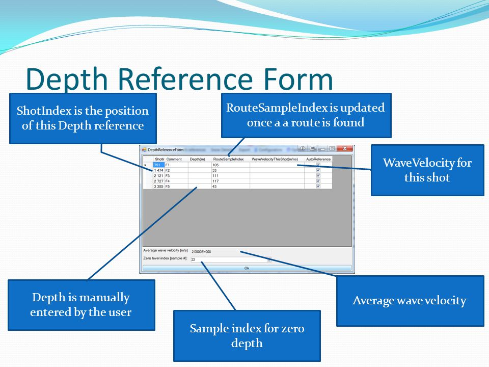 Depth Reference Form RouteSampleIndex is updated once a a route is found ShotIndex is the position of this Depth reference Depth is manually entered b