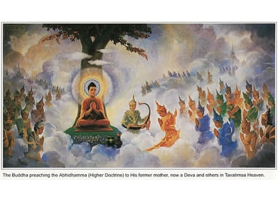 The Abhidhamma During the 3 months of his preaching, the Buddha would come down to earth for his alms, creating an image of himself in Tavatimsa to continue teaching.