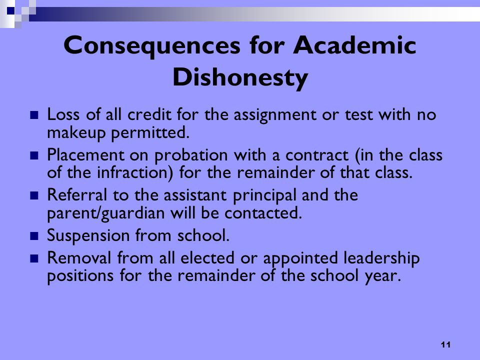 11 Consequences for Academic Dishonesty Loss of all credit for the assignment or test with no makeup permitted. Placement on probation with a contract