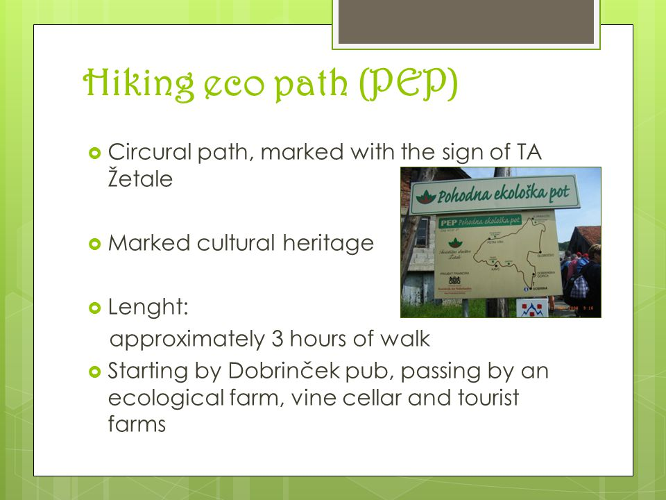 Hiking eco path (PEP) PEP