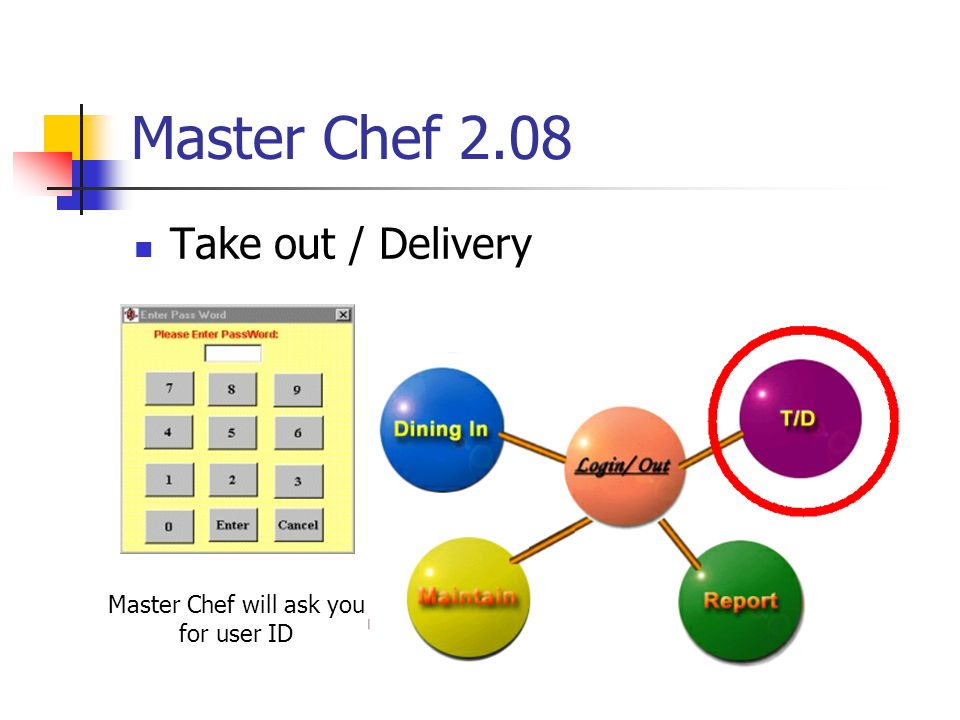 Master Chef 2.08 Take out / Delivery Master Chef will ask you for user ID