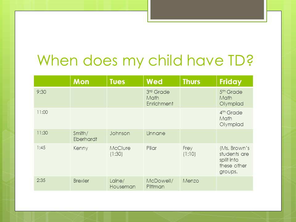 When does my child have TD.