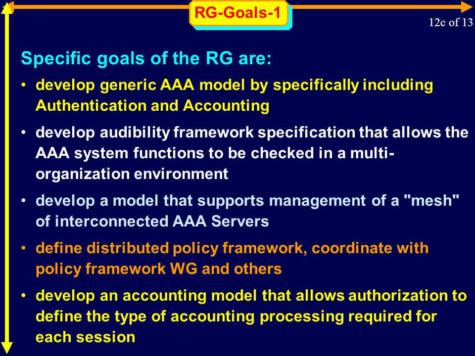 RG-Goals-1 Specific goals of the RG are: develop generic AAA model by specifically including Authentication and Accounting develop audibility framework specification that allows the AAA system functions to be checked in a multi- organization environment develop a model that supports management of a mesh of interconnected AAA Servers define distributed policy framework, coordinate with policy framework WG and others develop an accounting model that allows authorization to define the type of accounting processing required for each session 12c of 13