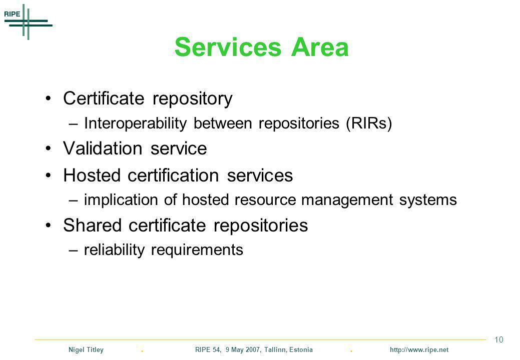 Nigel Titley. RIPE 54, 9 May 2007, Tallinn, Estonia. http://www.ripe.net 10 Services Area Certificate repository –Interoperability between repositorie
