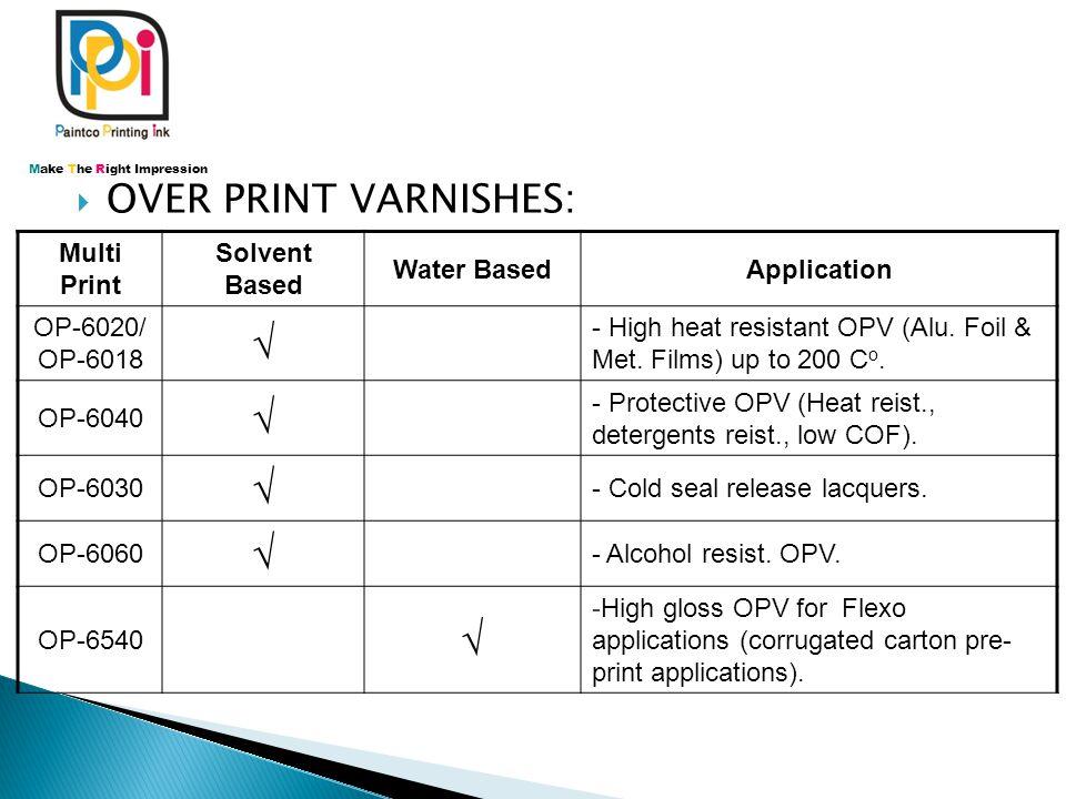  OVER PRINT VARNISHES: Multi Print Solvent Based Water BasedApplication OP-6020/ OP-6018 √ - High heat resistant OPV (Alu. Foil & Met. Films) up to 2