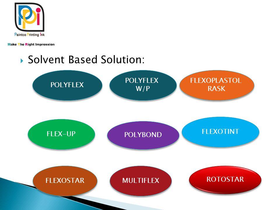 SSolvent Based Solution: POLYFLEX W/P POLYFLEX W/P FLEXOPLASTOL RASK FLEXOPLASTOL RASK FLEXOTINT FLEXOSTAR FLEX-UP POLYBOND MULTIFLEX Make The Right