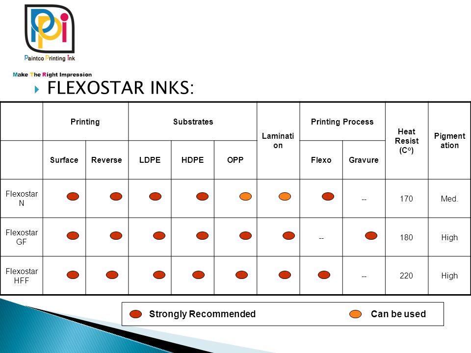  FLEXOSTAR INKS: PrintingSubstrates Laminati on Printing Process Heat Resist (C o ) Pigment ation SurfaceReverseLDPEHDPEOPPFlexoGravure Flexostar N -