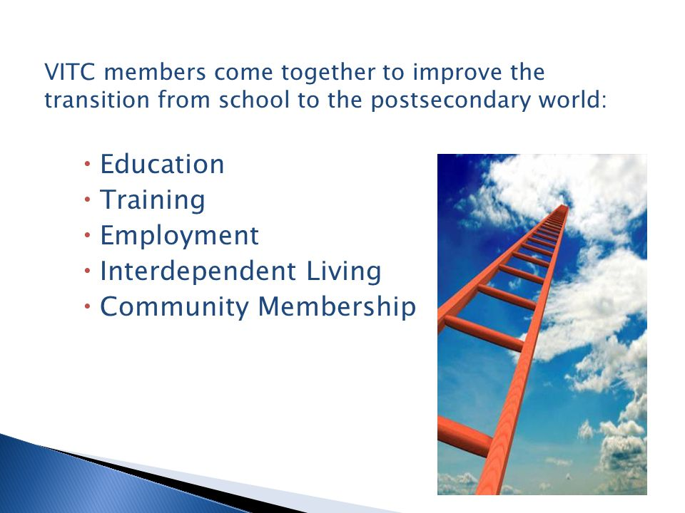 VITC members come together to improve the transition from school to the postsecondary world:  Education  Training  Employment  Interdependent Living  Community Membership