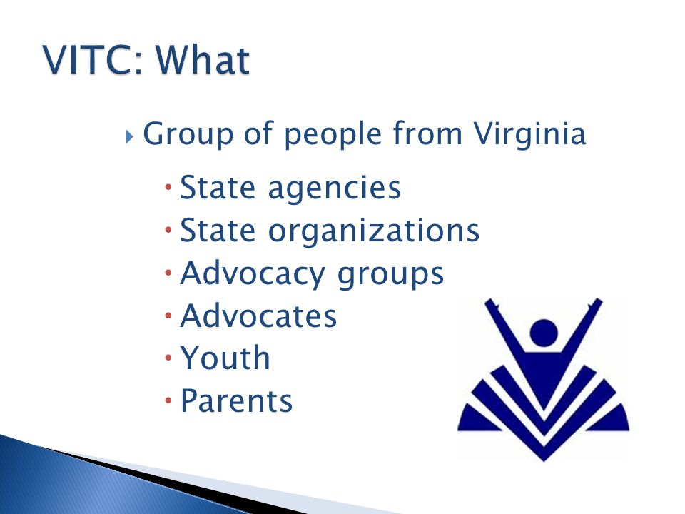  Group of people from Virginia  State agencies  State organizations  Advocacy groups  Advocates  Youth  Parents