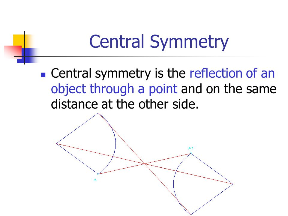 Central Symmetry Central symmetry is the reflection of an object through a point and on the same distance at the other side.