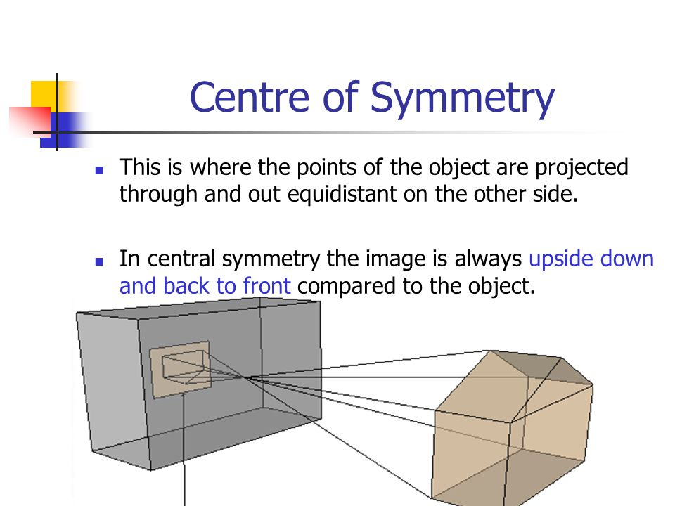 Centre of Symmetry This is where the points of the object are projected through and out equidistant on the other side.