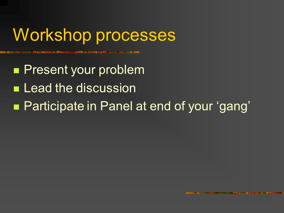 Workshop processes Present your problem Lead the discussion Participate in Panel at end of your 'gang'