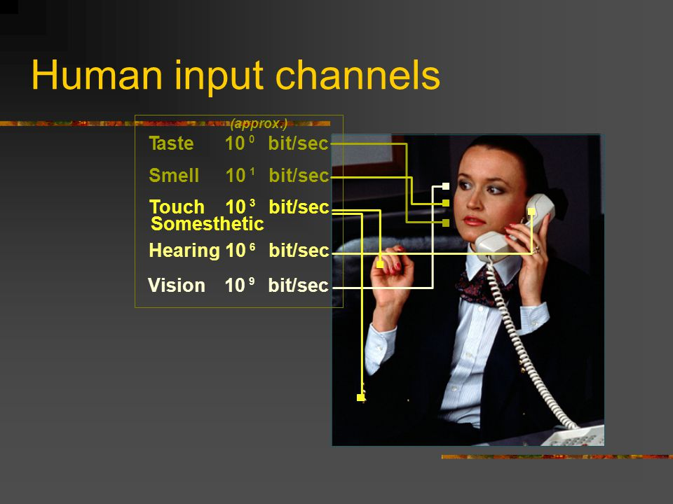 Human input channels Vision10 9 bit/sec Somesthetic Taste10 0 bit/sec Smell10 1 bit/sec Touch10 3 bit/sec Hearing10 6 bit/sec (approx.)