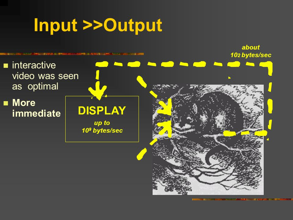 Input >>Output DISPLAY up to 10 9 bytes/sec about 10 2 bytes/sec n interactive video was seen as optimal n More immediate