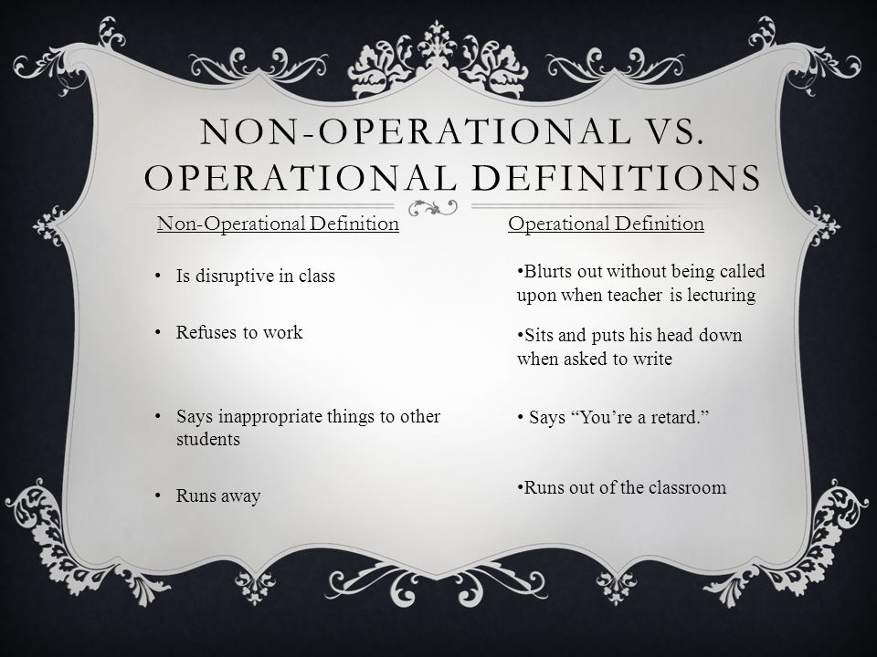 NON-OPERATIONAL VS.
