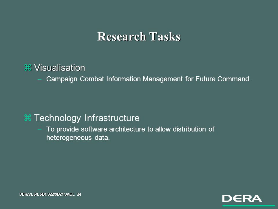 DERA/LS/LSB1/322/9D21/JACL 24 Research Tasks zVisualisation –Campaign Combat Information Management for Future Command.