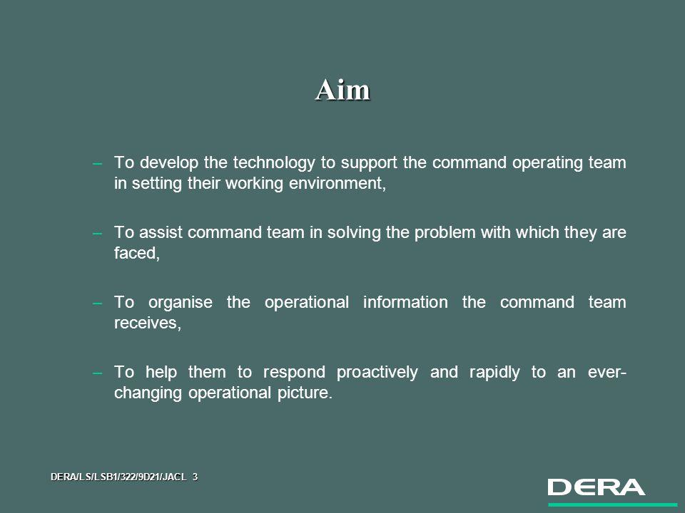 DERA/LS/LSB1/322/9D21/JACL 24 Research Tasks zVisualisation –Campaign Combat Information Management for Future Command.