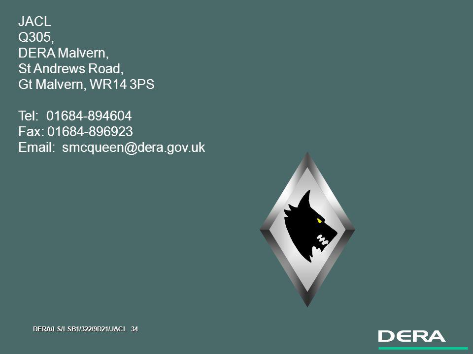 DERA/LS/LSB1/322/9D21/JACL 34 JACL Q305, DERA Malvern, St Andrews Road, Gt Malvern, WR14 3PS Tel: 01684-894604 Fax: 01684-896923 Email: smcqueen@dera.gov.uk
