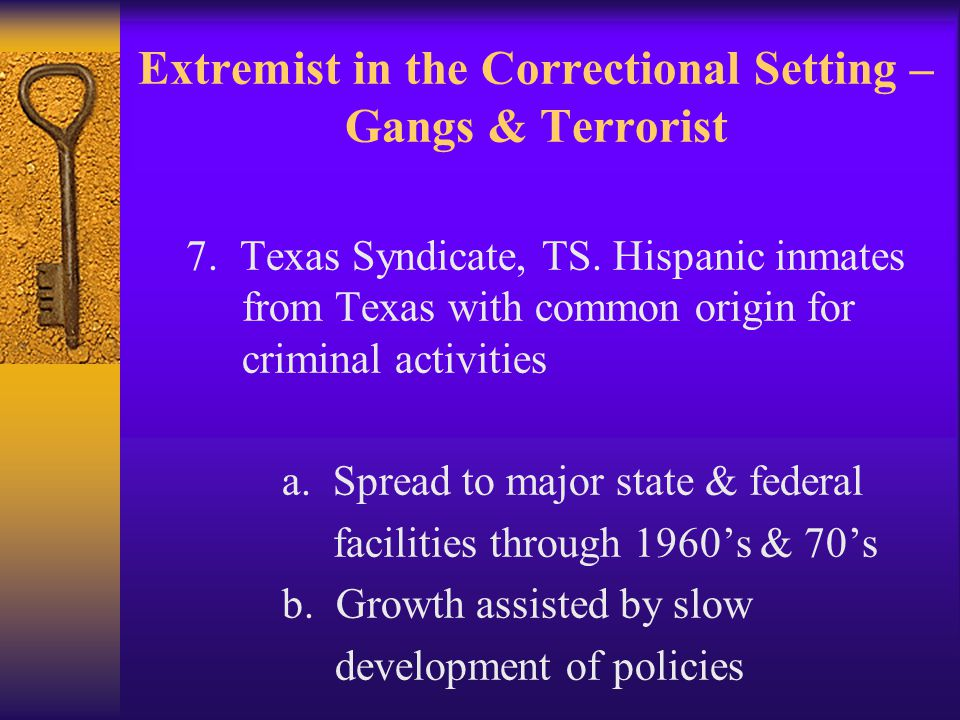 Extremist in the Correctional Setting – Gangs & Terrorist 7.