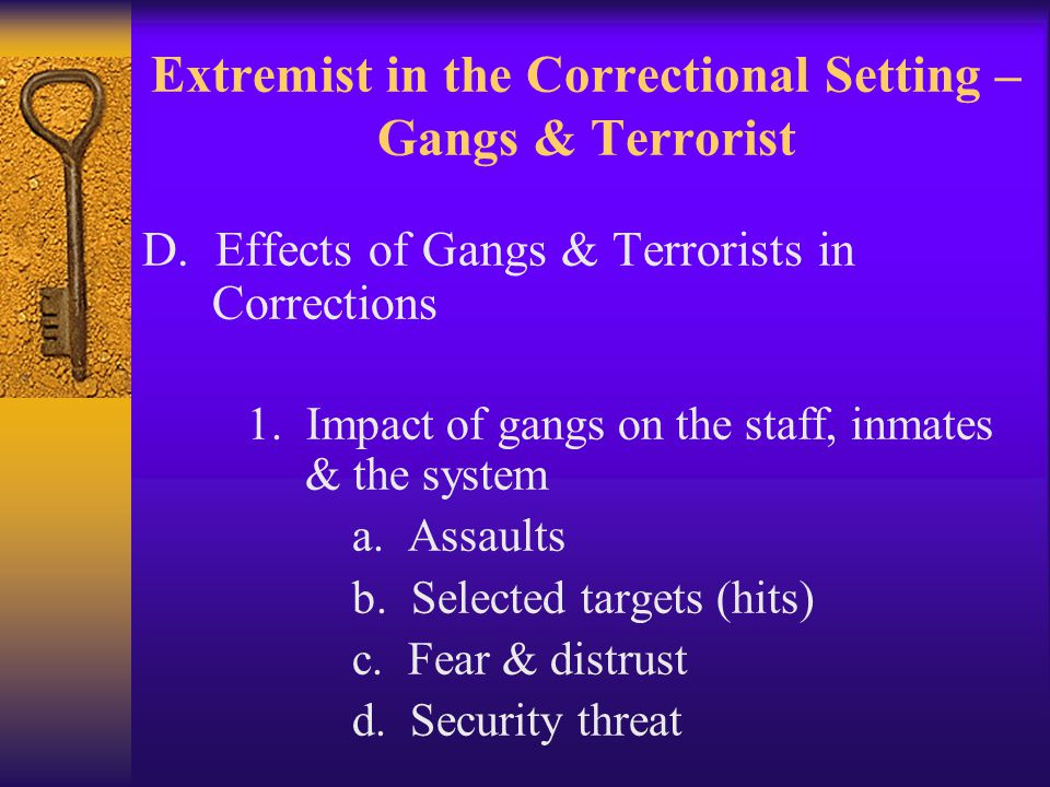 Extremist in the Correctional Setting – Gangs & Terrorist D.