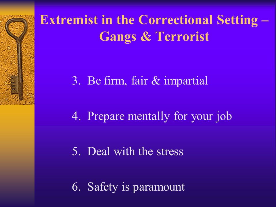 Extremist in the Correctional Setting – Gangs & Terrorist 3.