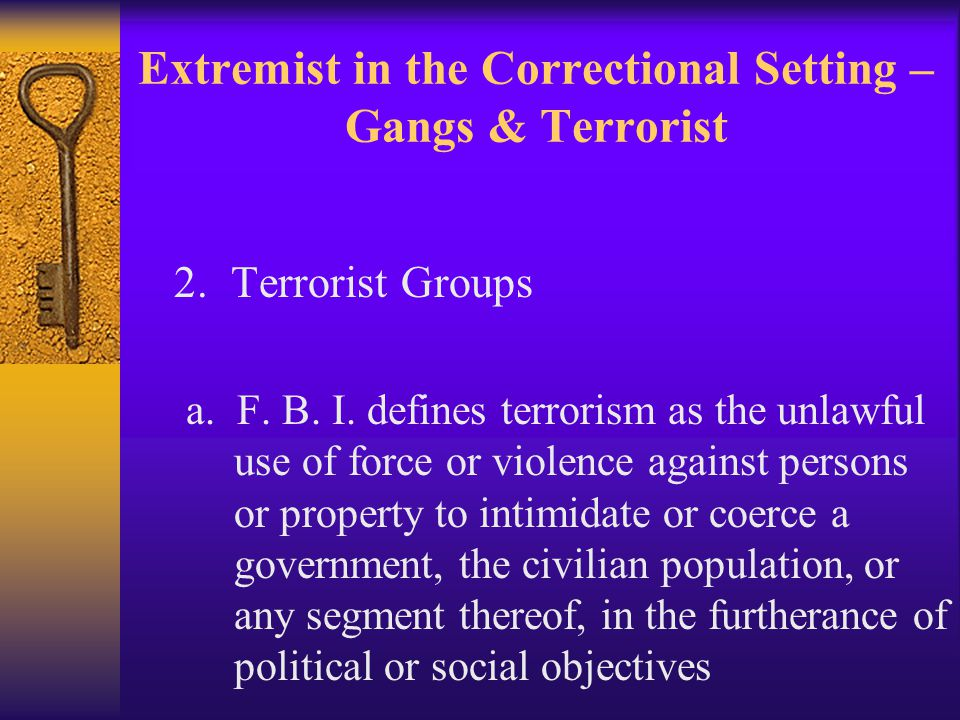 Extremist in the Correctional Setting – Gangs & Terrorist 2.