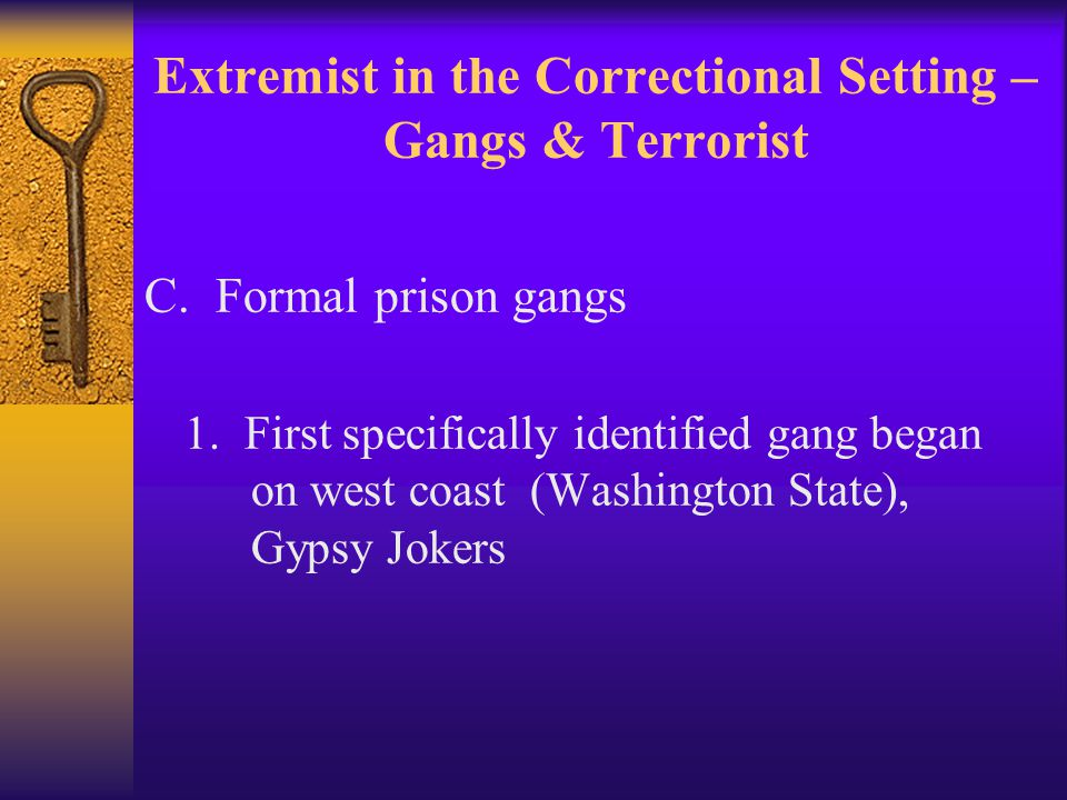 Extremist in the Correctional Setting – Gangs & Terrorist C.