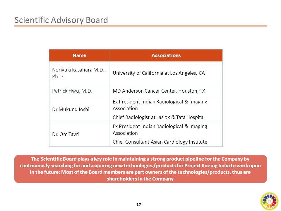 17 Scientific Advisory Board NameAssociations Noriyuki Kasahara M.D., Ph.D.