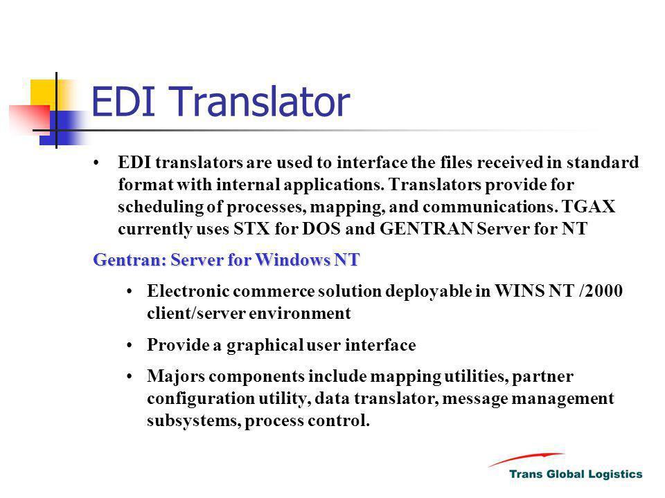 EDI Translator EDI translators are used to interface the files received in standard format with internal applications. Translators provide for schedul