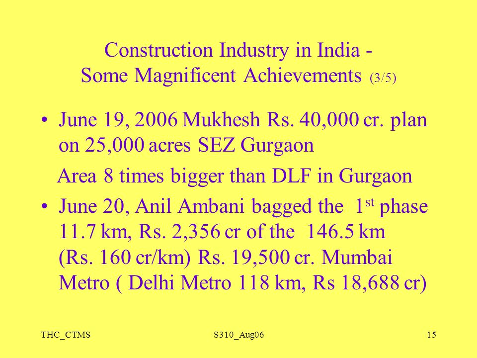 THC_CTMSS310_Aug0615 Construction Industry in India - Some Magnificent Achievements (3/5) June 19, 2006 Mukhesh Rs. 40,000 cr. plan on 25,000 acres SE