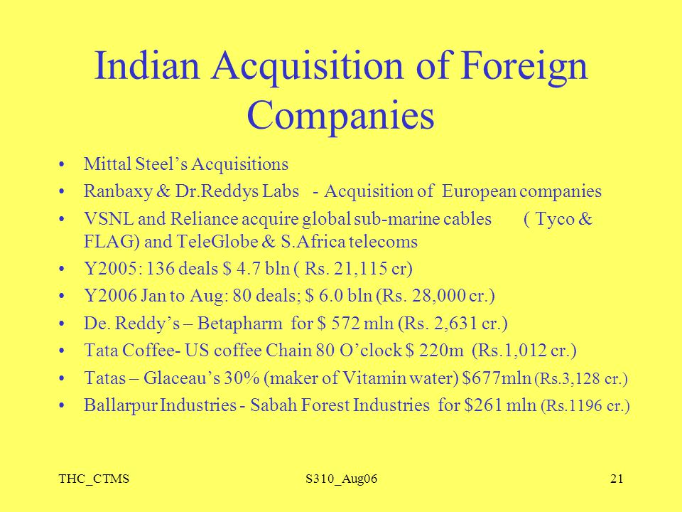 THC_CTMSS310_Aug0621 Indian Acquisition of Foreign Companies Mittal Steel's Acquisitions Ranbaxy & Dr.Reddys Labs - Acquisition of European companies