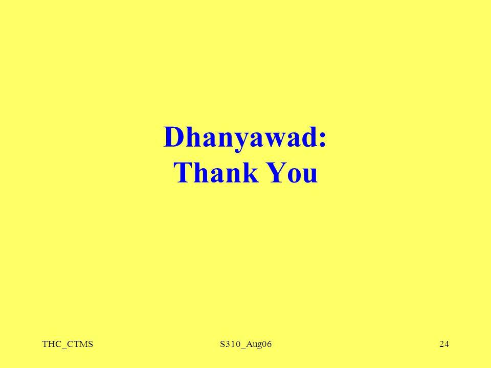 THC_CTMSS310_Aug0624 Dhanyawad: Thank You