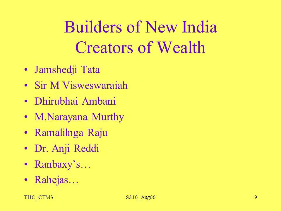 THC_CTMSS310_Aug069 Builders of New India Creators of Wealth Jamshedji Tata Sir M Visweswaraiah Dhirubhai Ambani M.Narayana Murthy Ramalilnga Raju Dr.